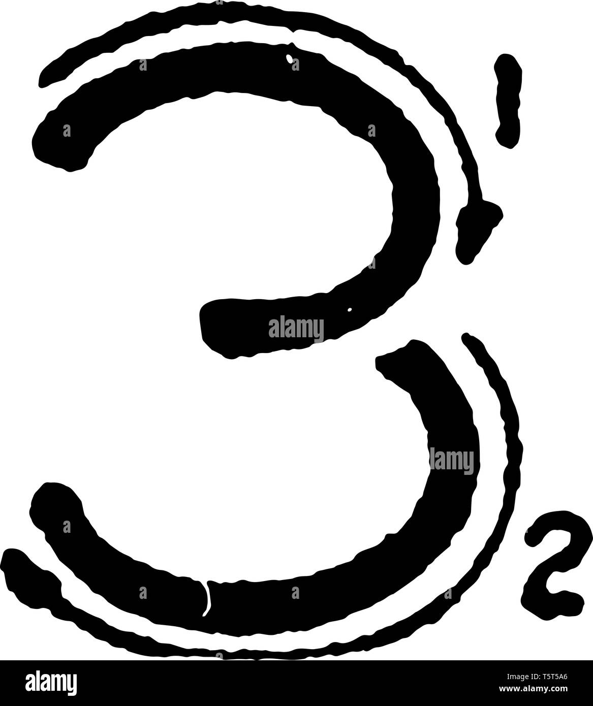 This is a picture of stroke technique for writing number 3 in commercial gothic, vintage line drawing or engraving illustration. Stock Vector