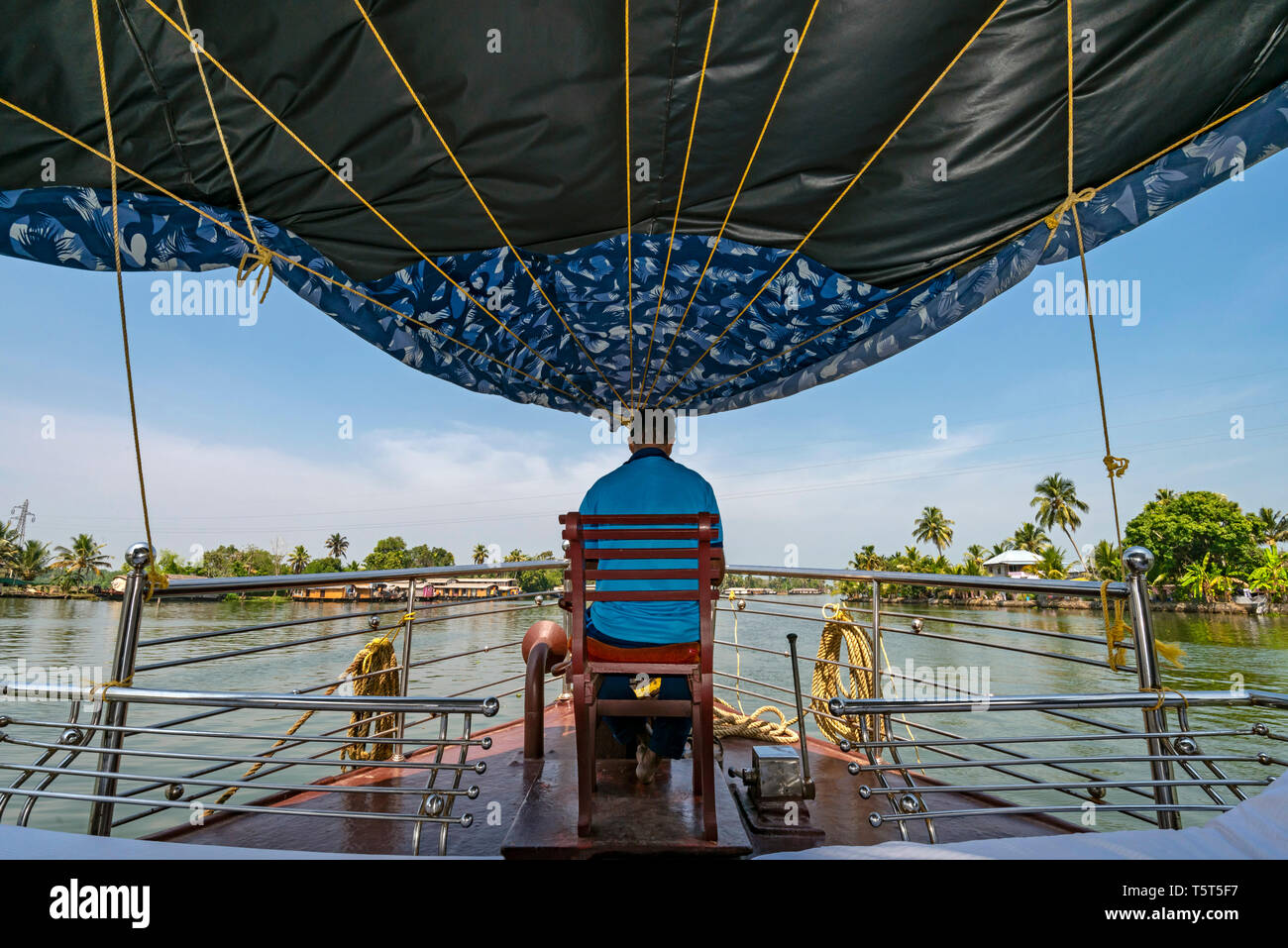 Horizontal view from a traditional riceboat in Kerala, India. Stock Photo
