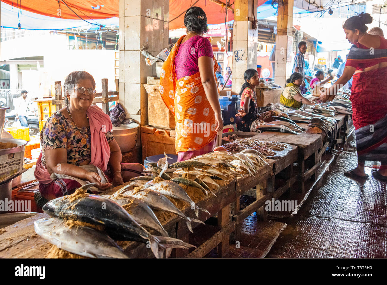 Horizontal view of the fish market at Palayam in Trivandrum, Kerala, India. - Stock Image