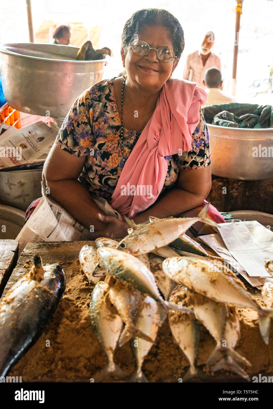 Vertical portrait of a lady selling fish at the fish market at Palayam in Trivandrum, Kerala, India. - Stock Image