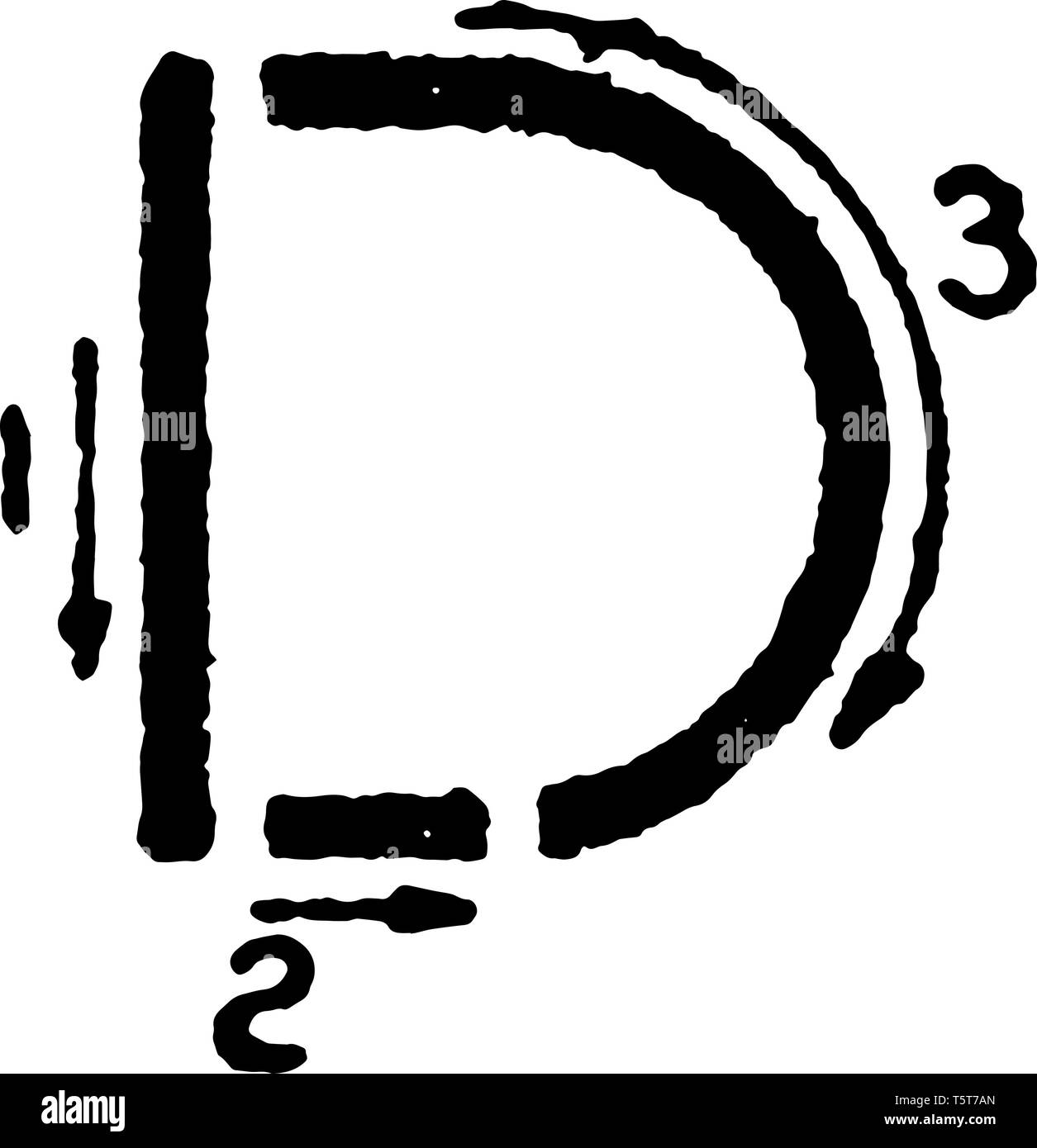 This is a picture of stroke technique for writing letter D in commercial gothic, vintage line drawing or engraving illustration. Stock Vector