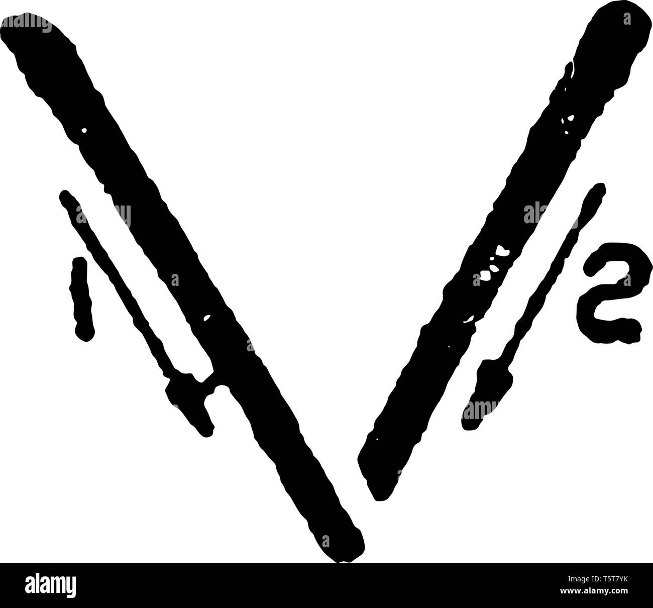 This is a picture of correct stroke technique for writing letter V in commercial gothic, vintage line drawing or engraving illustration. Stock Vector