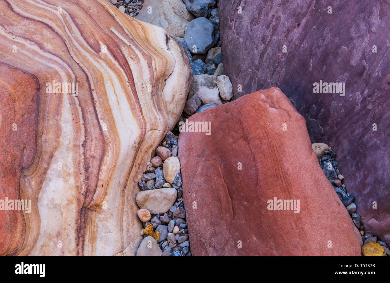 Colored stones in the bottom of a dry wash, Pine Canyon, Red Rock Canyons Conservation Area, Nevada, USA - Stock Image