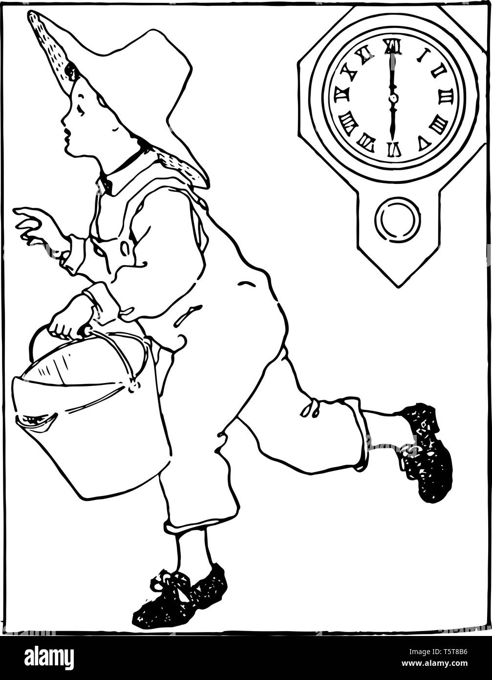 A Child Is Running Holding A Bucket In His Hands And Wearing A Hat In His Head With Clock Showing Time As 6 00 Vintage Line Drawing Or Engraving Illu Stock Vector Image
