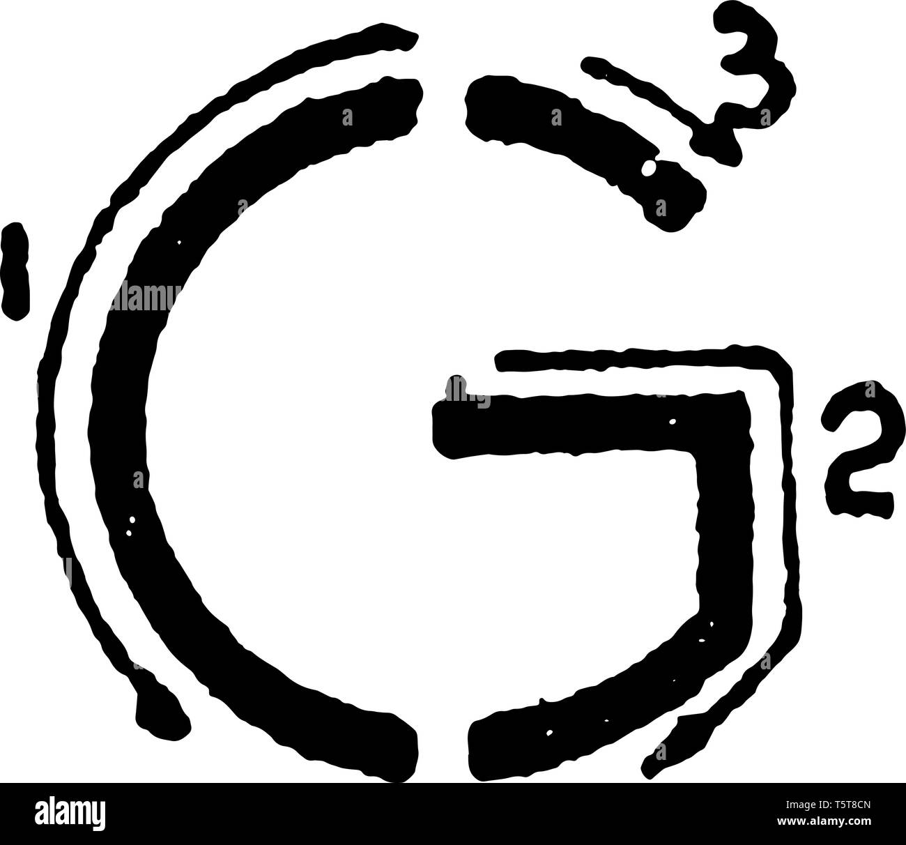 This is a picture of stroke technique for writing letter G in commercial gothic, vintage line drawing or engraving illustration. Stock Vector
