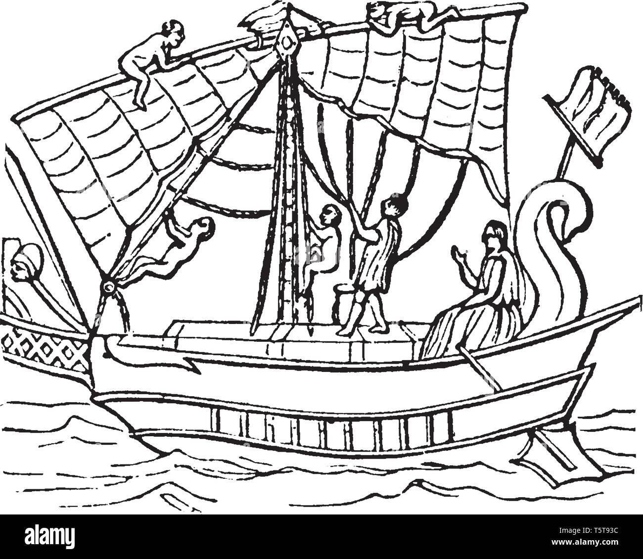 Moneris is the middle part of the deck in most ships of war appears to have been raised above the bulwark, vintage line drawing or engraving illustrat - Stock Vector