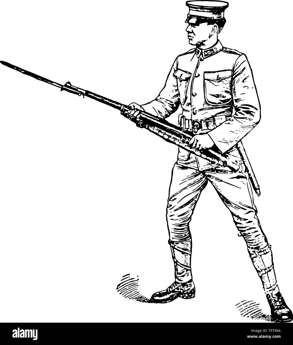 Left Handed Rifle where the men may be permitted to wield the rifle left handed, vintage line drawing or engraving illustration. - Stock Image