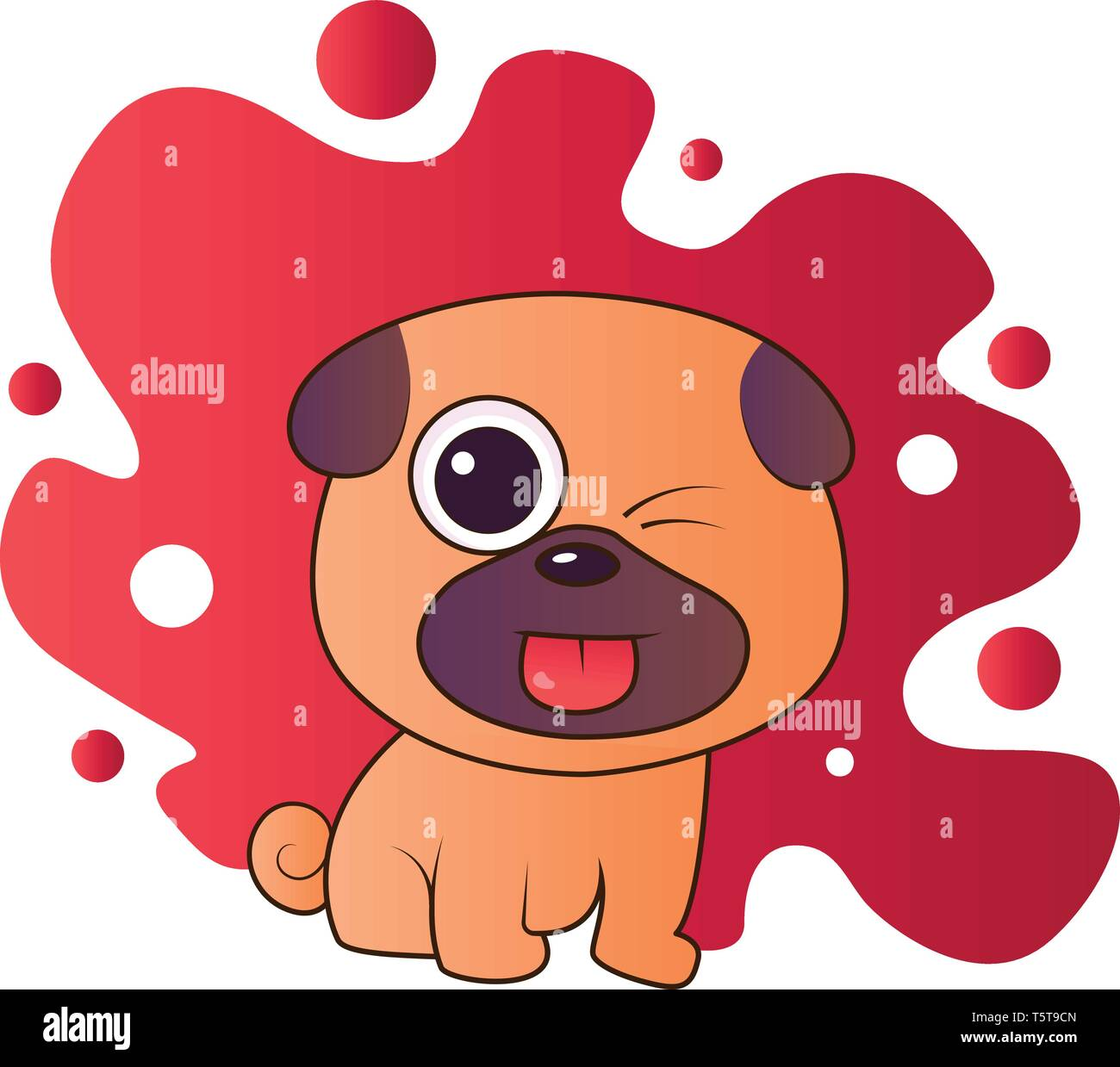 Brown and purple puppy sticking out his tounge vector illistration in red blob on white background. - Stock Image