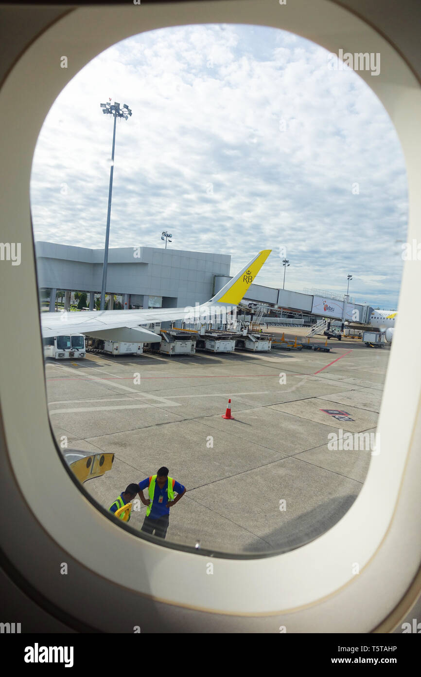 Royal Brunei Airlines at Bandar Seri Begawan airport tarmac - Stock Image