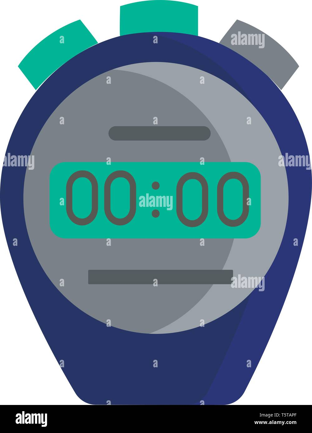 Clipart of a blue-colored stopwatch with green and grey