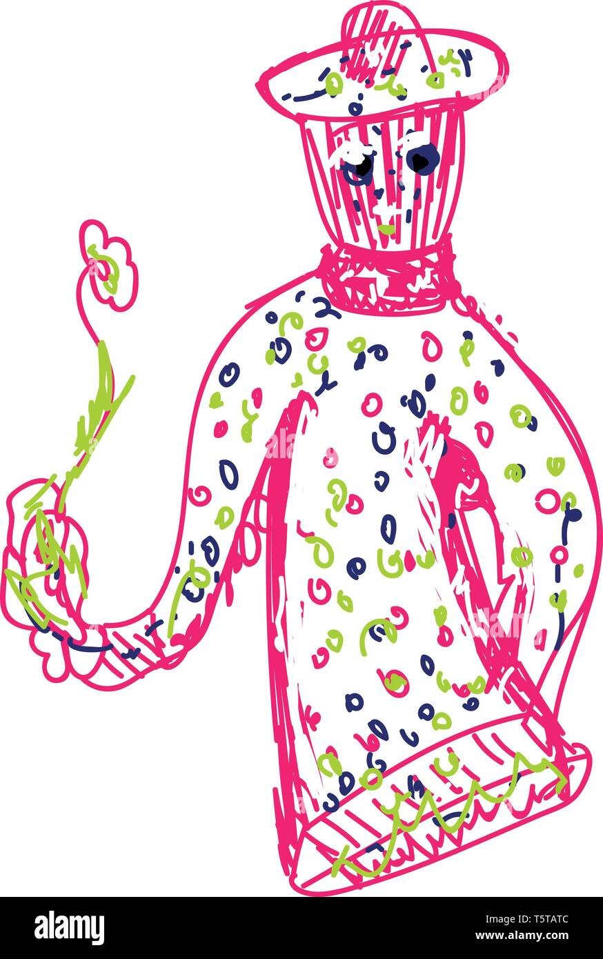 Pink-colored sketch of a joker toy holding a flower with green leaves vector color drawing or illustration - Stock Image