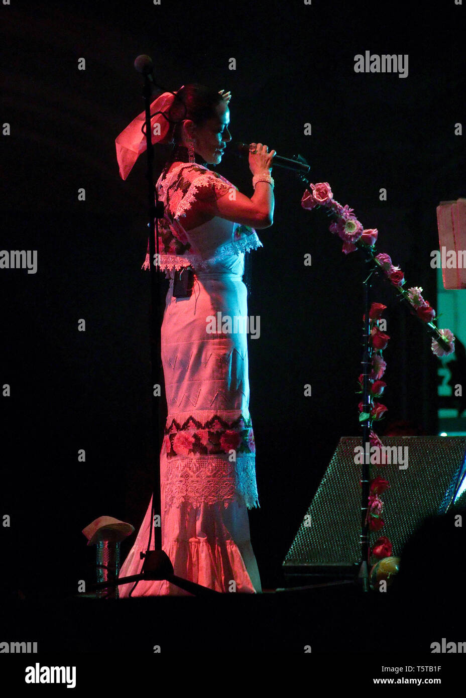 Merida, Yucatan, Mexico - 2013: Famous Mexican musician Lila Downs performing at a free outdoors show to celebrate the city's anniversary. - Stock Image