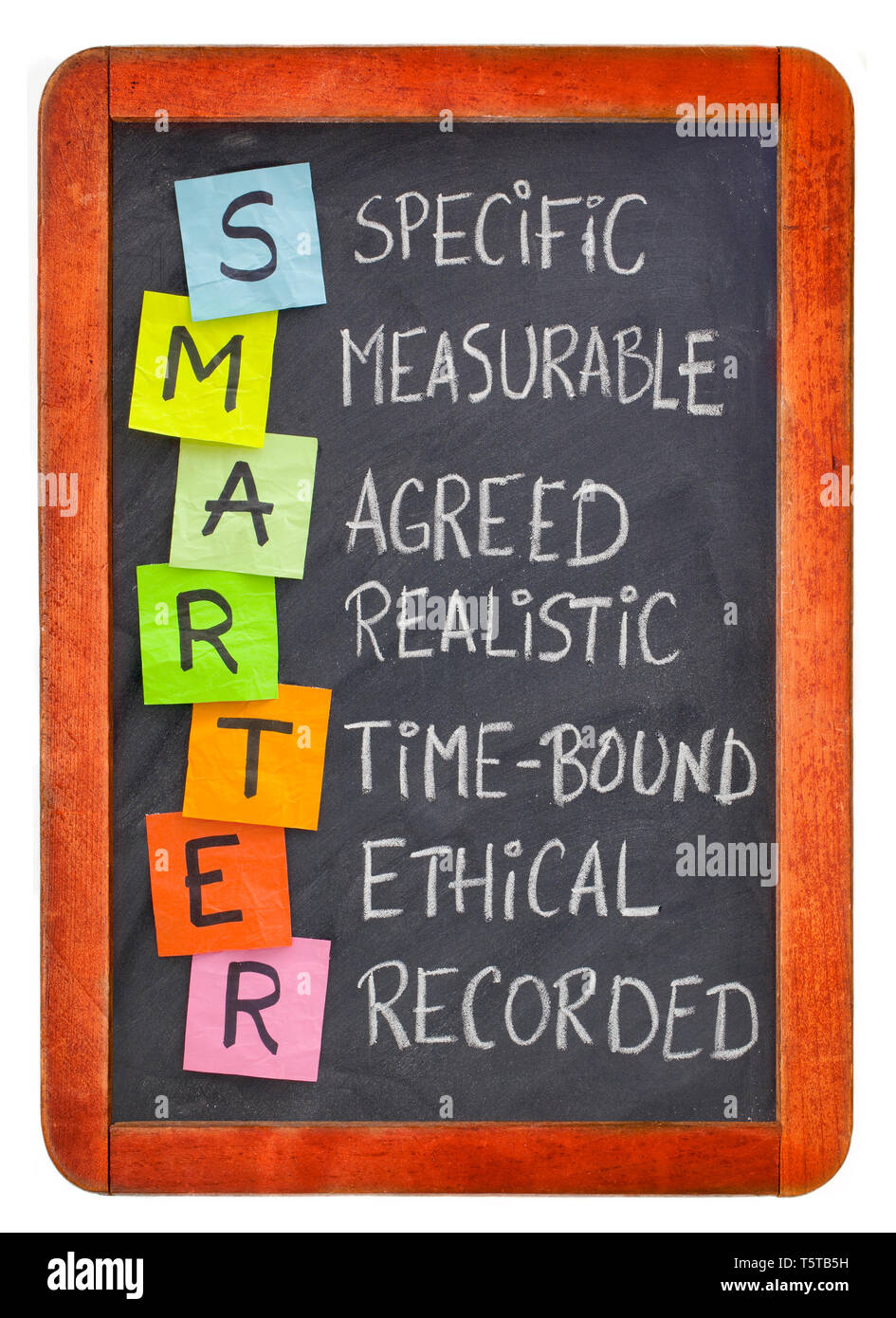 SMARTER (specific, measurable, agreed, realistic, time-bound, ethical, recorded) - acronym for goal setting methodology, white chalk handwriting, colo - Stock Image