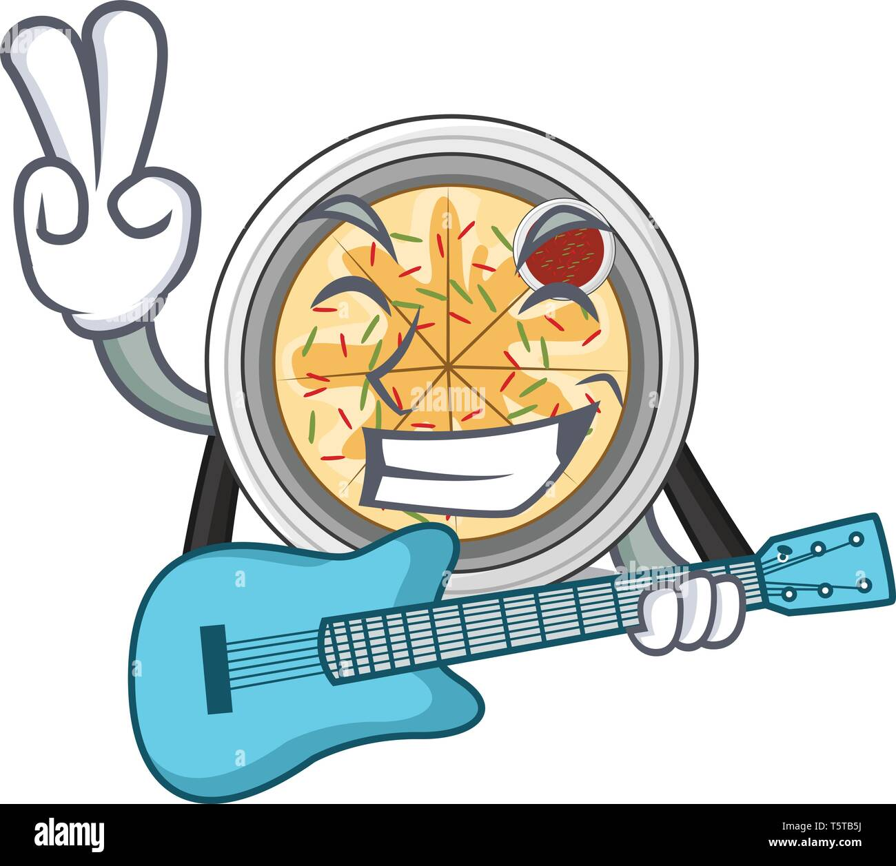 With guitar buchimgae isolated with in the mascot - Stock Vector