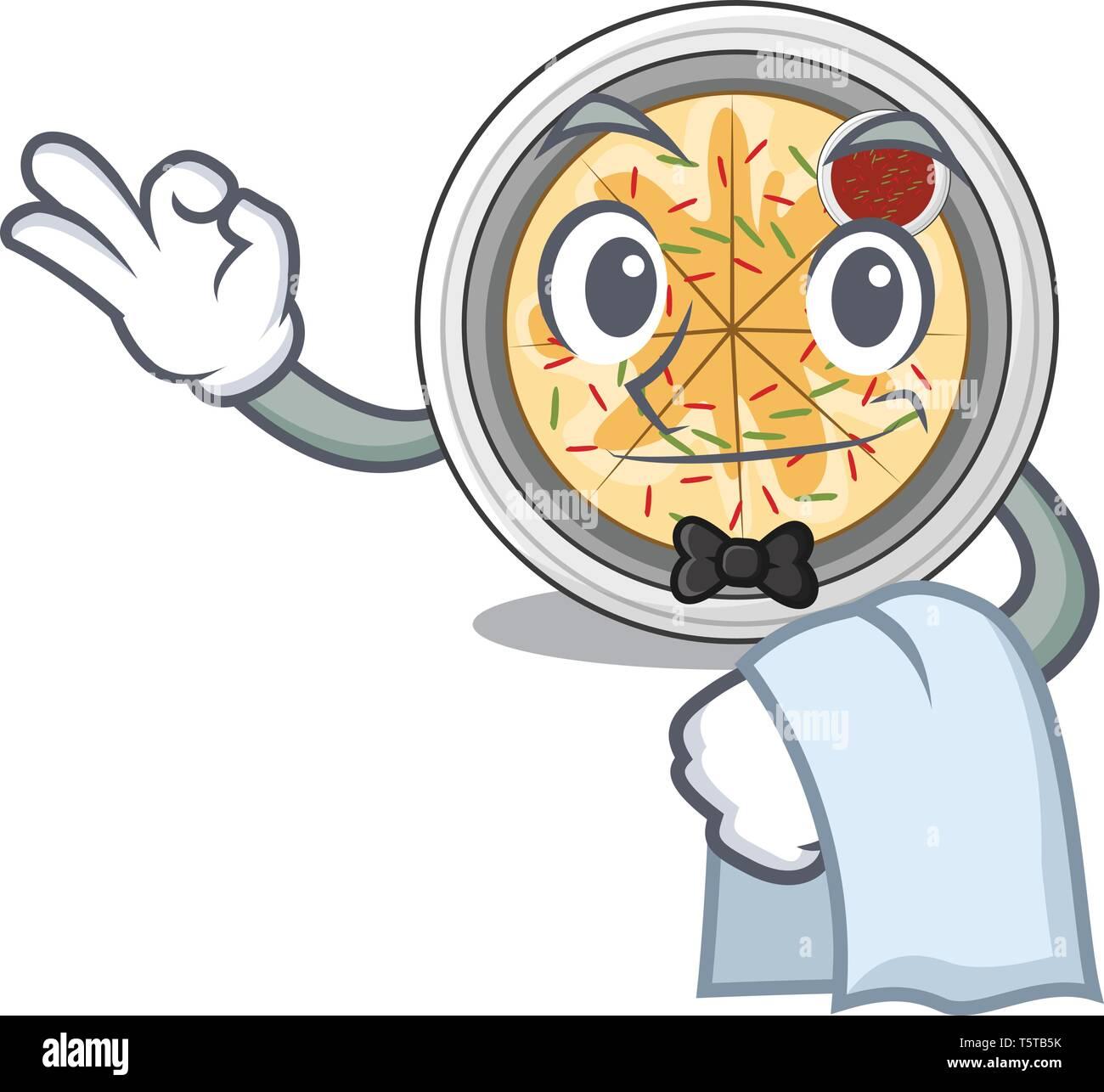 Waiter buchimgae isolated with in the mascot - Stock Vector