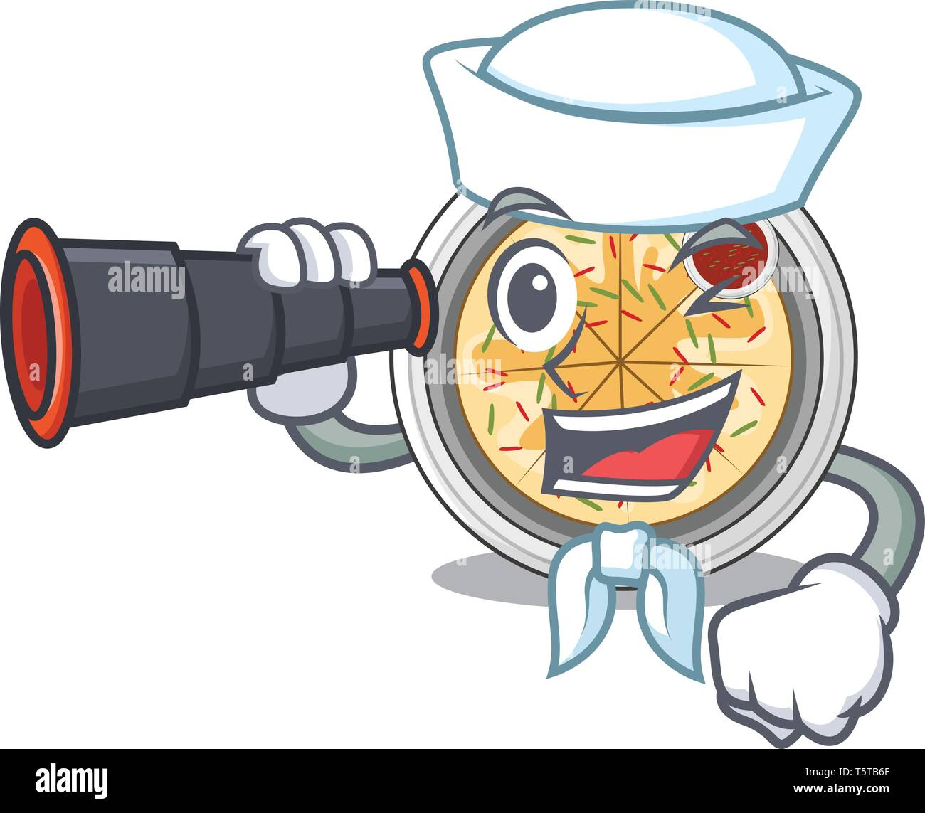 Sailor with binocular buchimgae isolated with in the mascot - Stock Vector