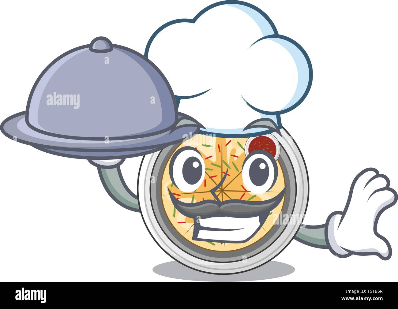 Chef with food buchimgae isolated with in the mascot - Stock Vector