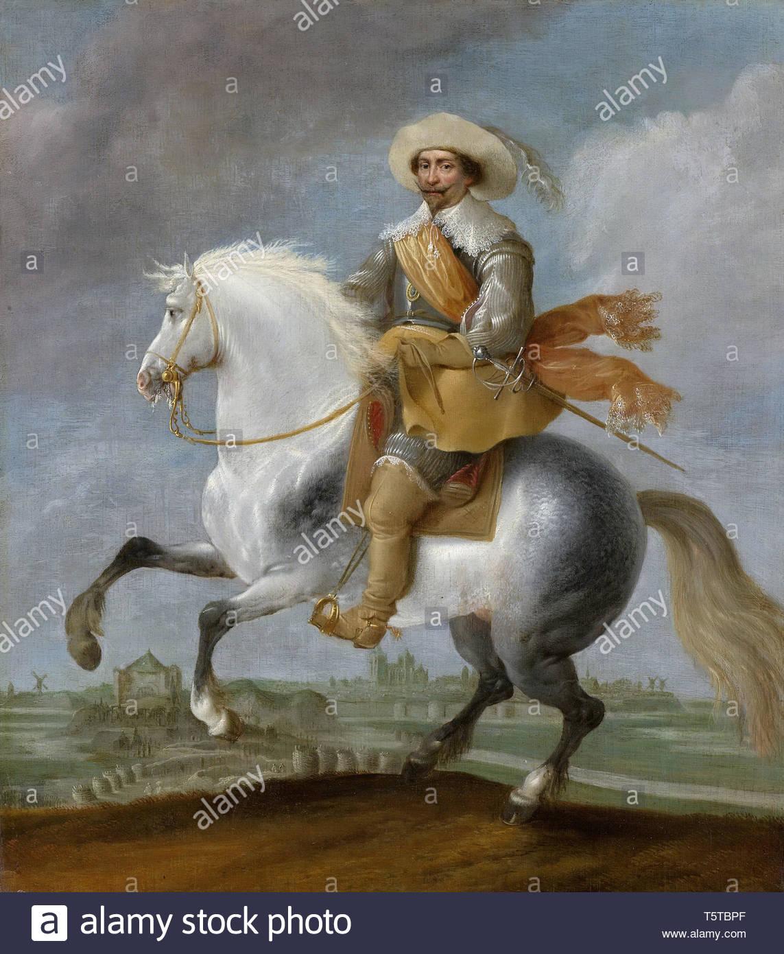 Hillegaert, Pauwels van-Prins Frederik Hendrik te paard voor de vesting 's-Hertogenbosch, 1629.jpeg - Stock Image