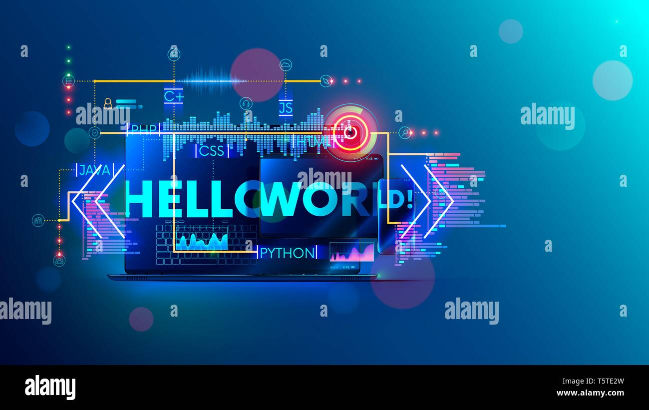 Online Learning Programming Or Coding On Different Computer Languages For Mobile Desktop Platform Web Banner Of Training Course And Tutorial Of Stock Vector Image Art Alamy
