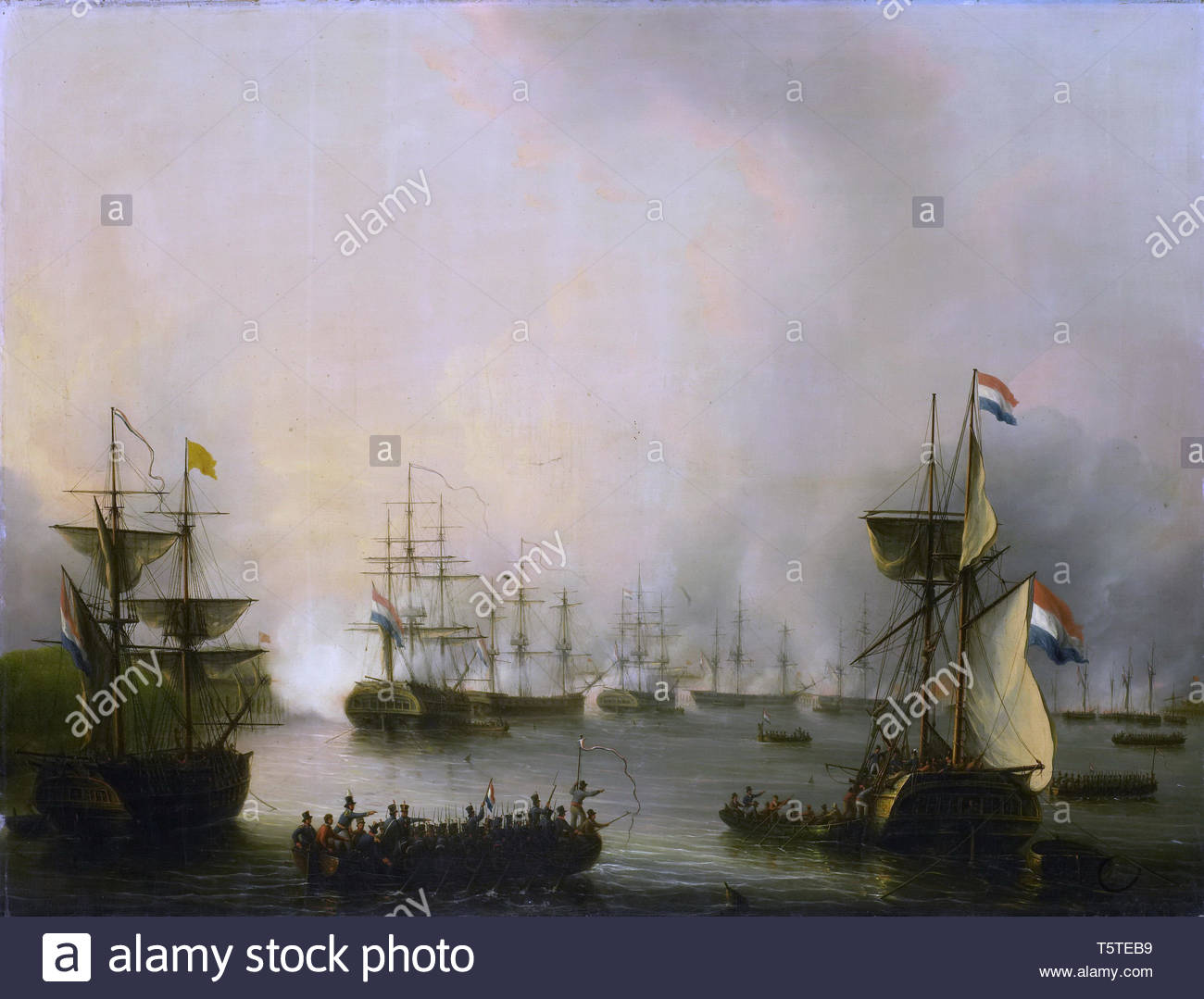 Schouman, Martinus-De beschieting van Palembang, Sumatra, 24 juni 1821.jpeg - Stock Image