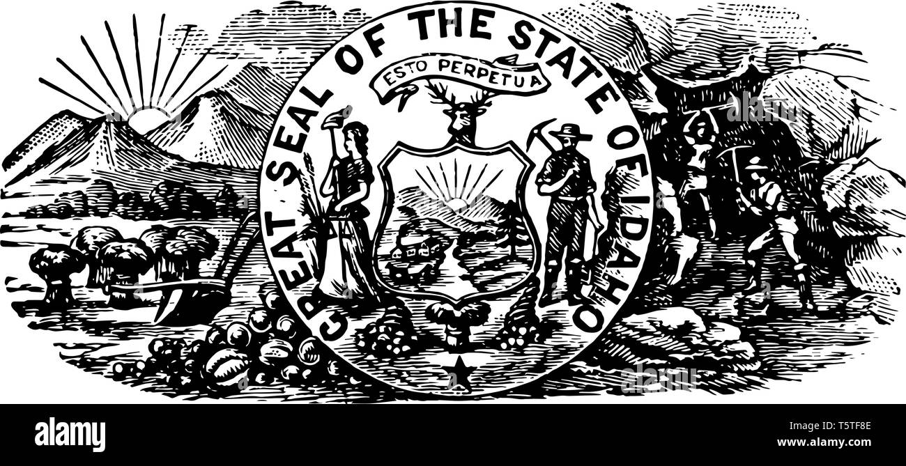 The Idaho seal contain a woman and a miner which represnting equility, liberty and justice vintage line drawing. - Stock Vector