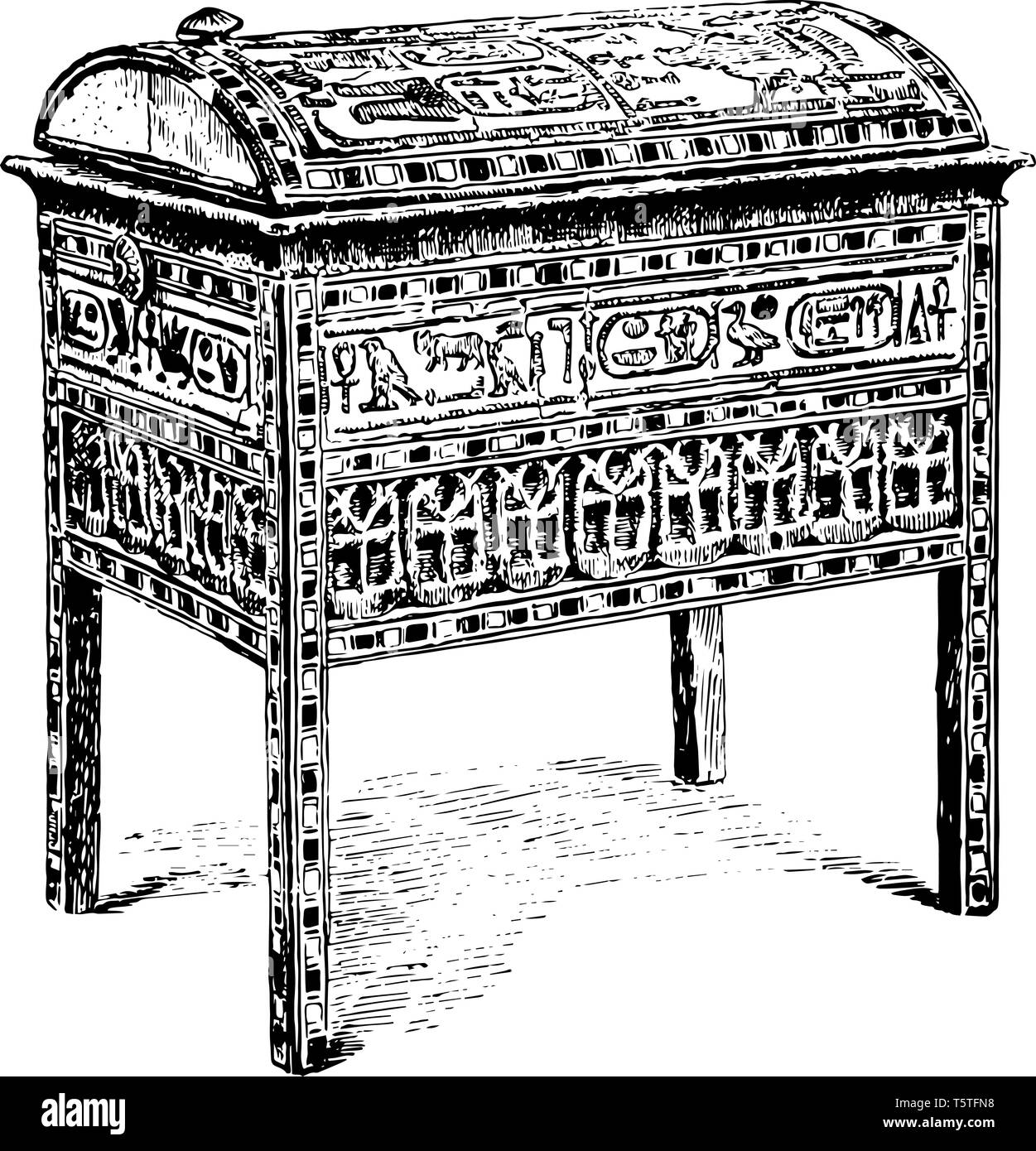 A jewel casket used by the wife of King Seti I, vintage line drawing or engraving illustration. - Stock Image