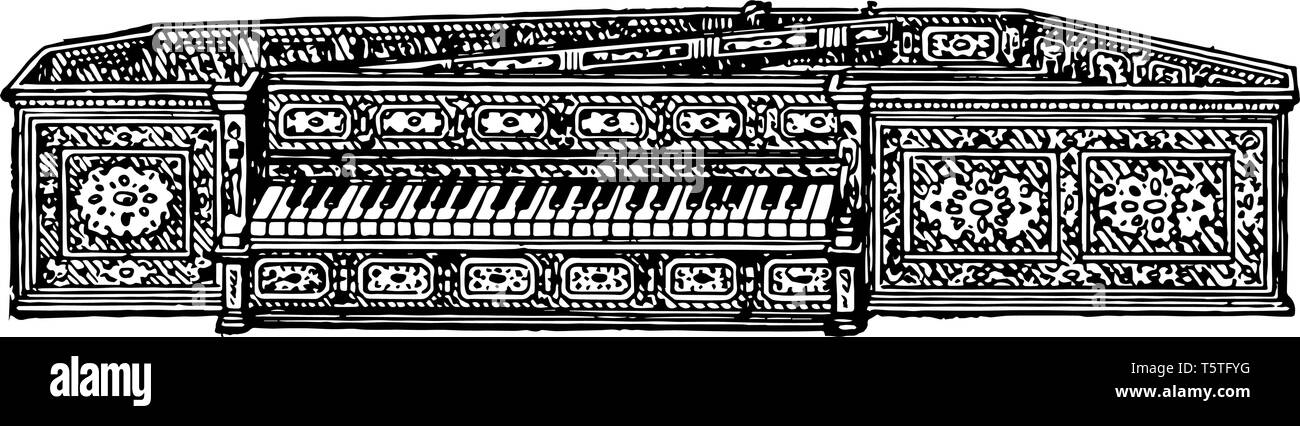 Spinet is a keyed musical instrument much in use from 1500 to 1760, vintage line drawing or engraving illustration. - Stock Vector