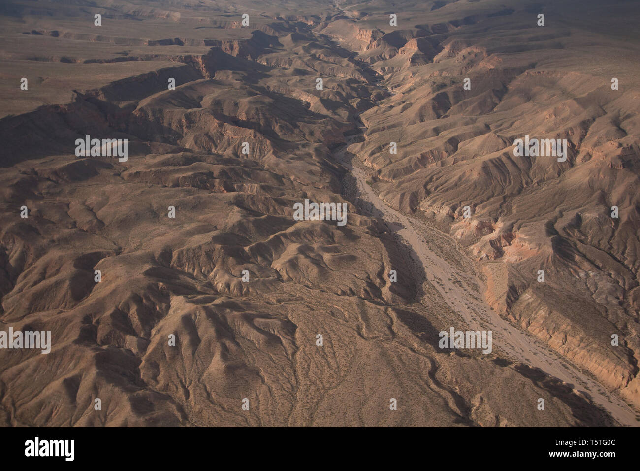 Aerial of desert patterns in the Lake Mead National Recreation Area, Arizona Stock Photo