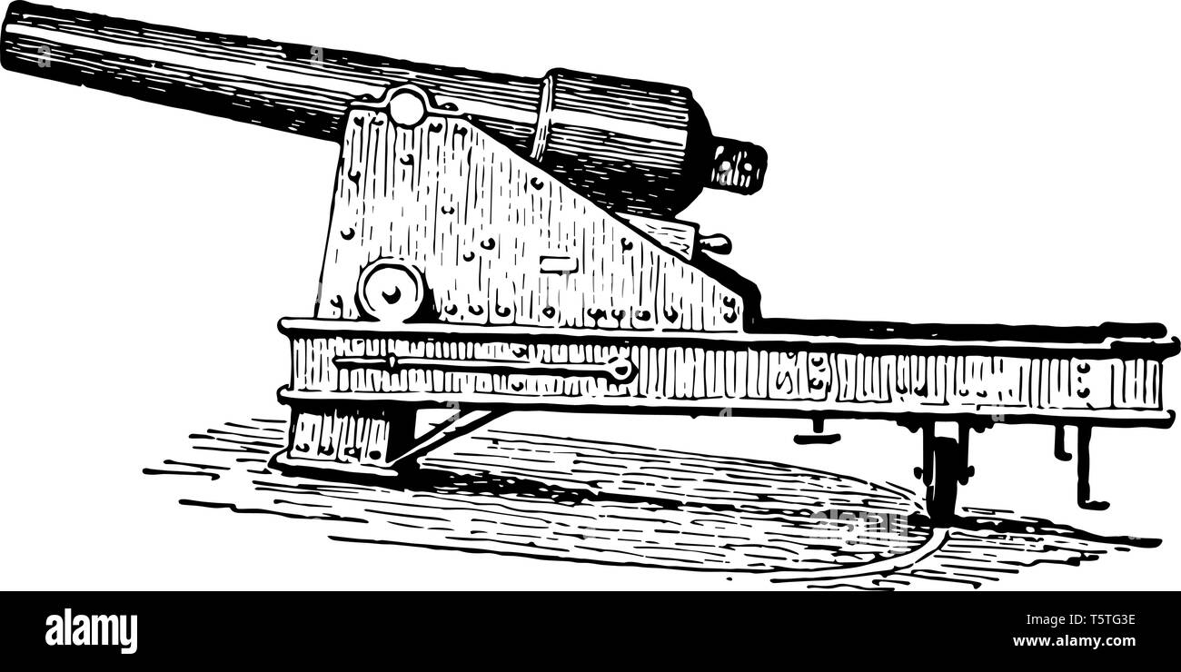 Swivel Cannon usually refers to a small cannon mounted on a swiveling stand or fork which allows a very wide arc of movement, vintage line drawing or  - Stock Image