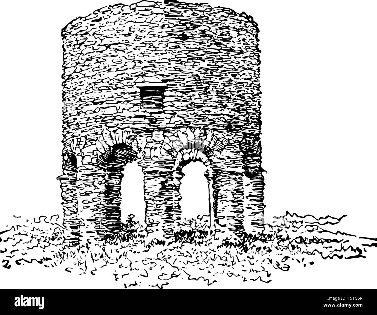 Old Stone Tower, Newport built in 17th century which is century's older which represents evidence of Pre Columbian Trans oceanic Contact vintage line  - Stock Vector