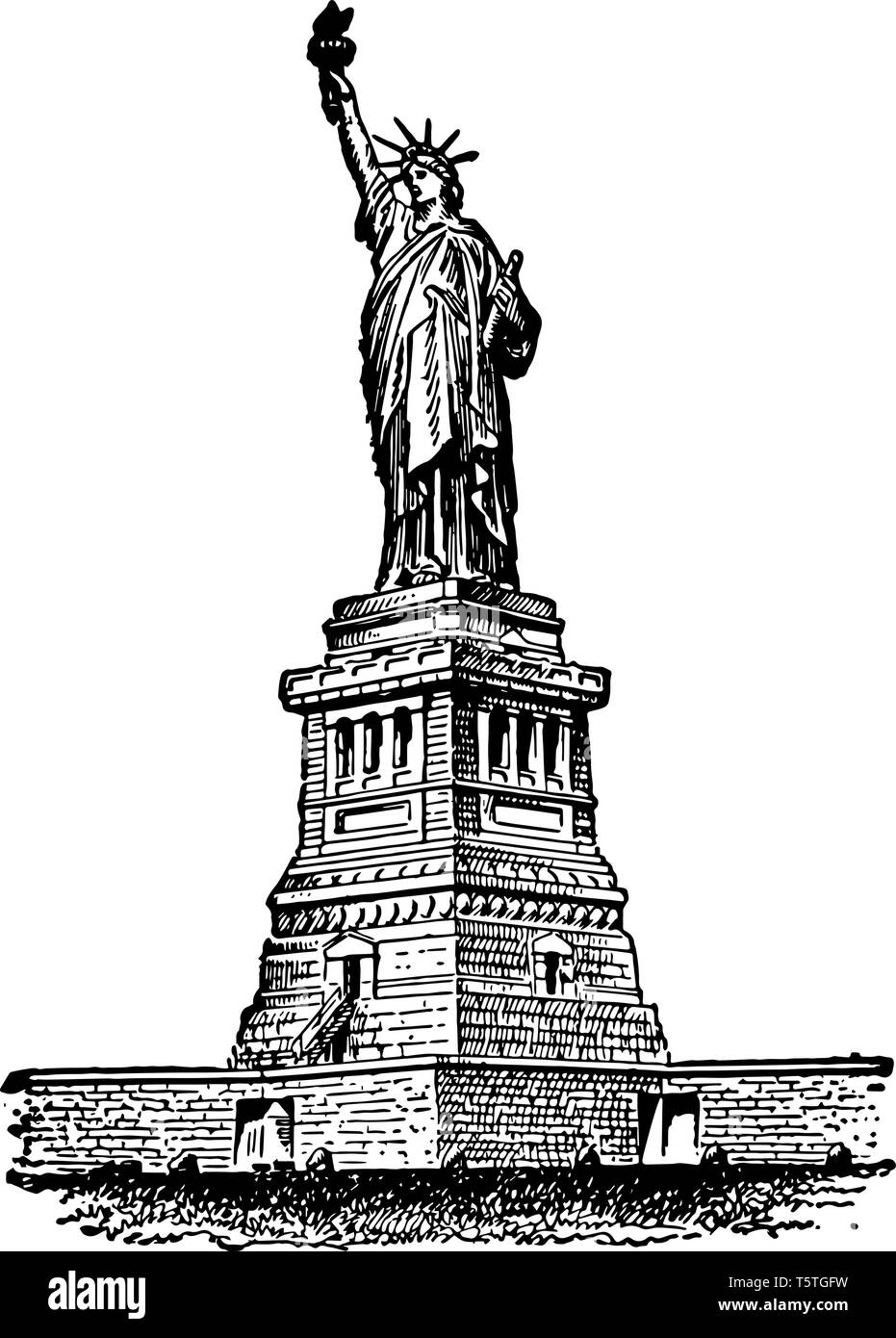 Statue of liberty is a copper statue located on liberty island, New york harbor, new york city, US vintage line drawing. Stock Vector