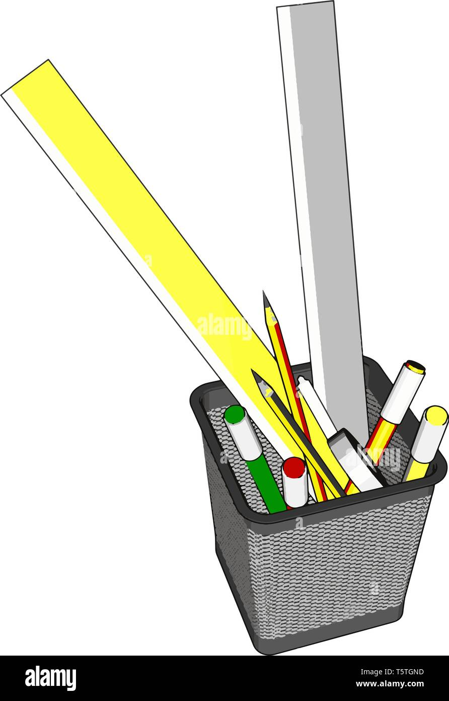 Wire pen cup with rulers and several pens and penciles vector illustration on white background - Stock Vector