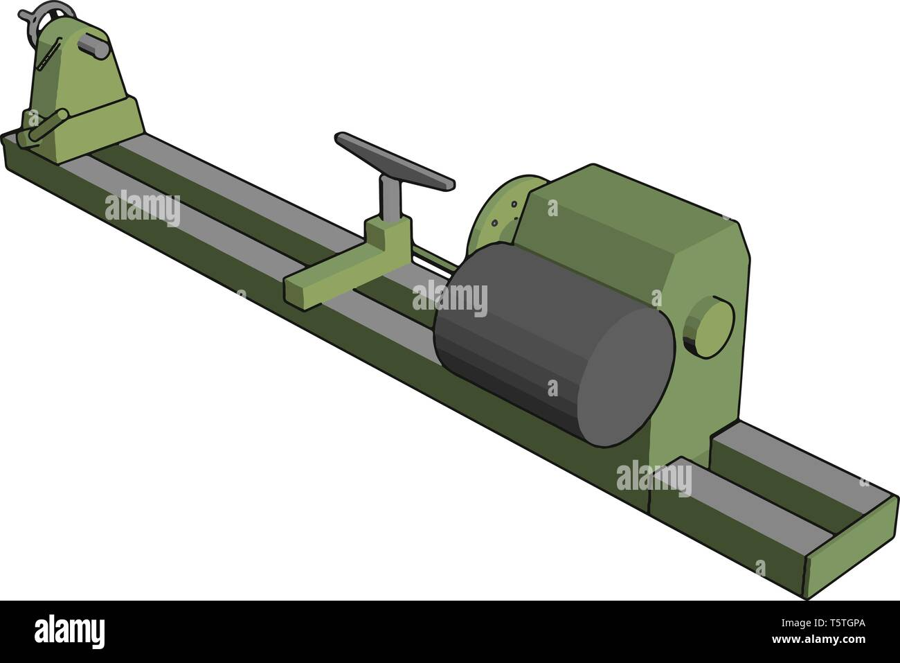 Industrial green and grey lathe vector illustration on white background Stock Vector