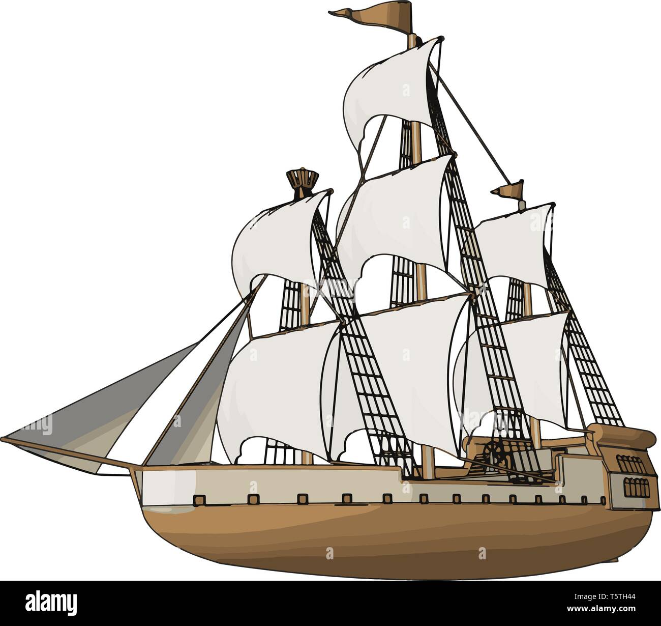 Simple vector illustration of an old sailing ship white backgorund - Stock Vector