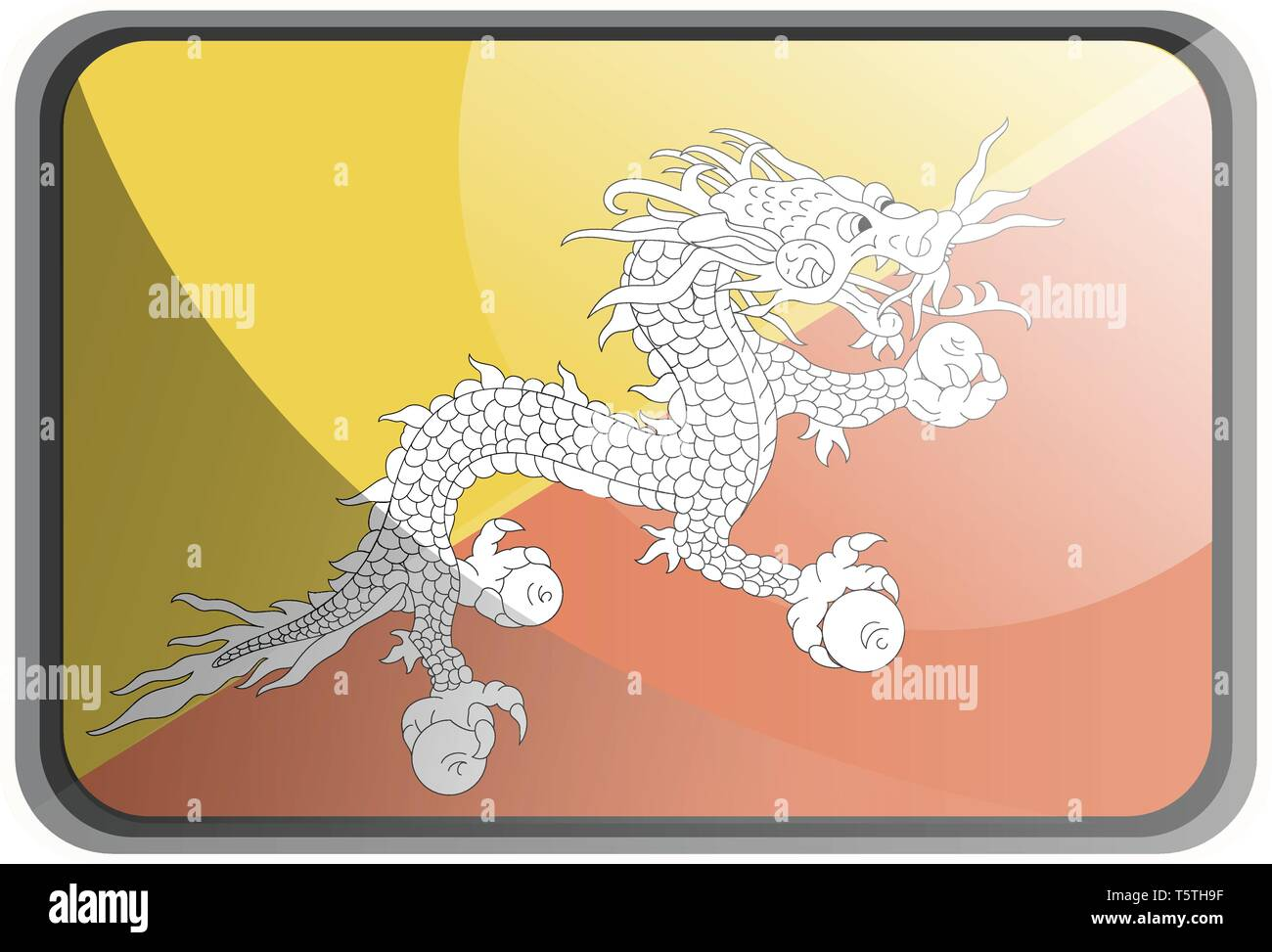 Vector illustration of Bhutan flag on white background. - Stock Vector