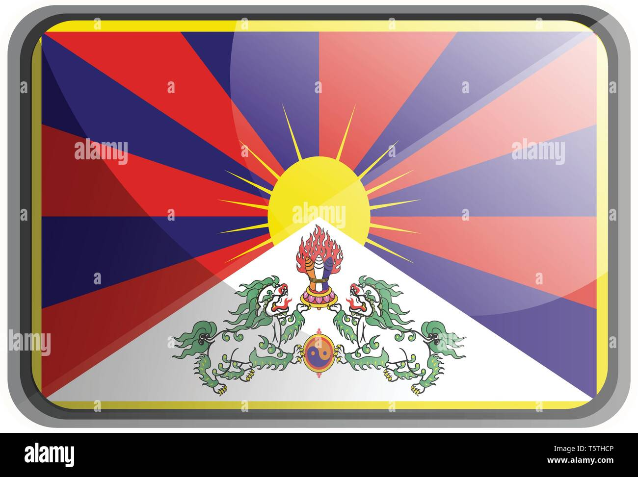Vector illustration of Tibet flag on white background. - Stock Vector