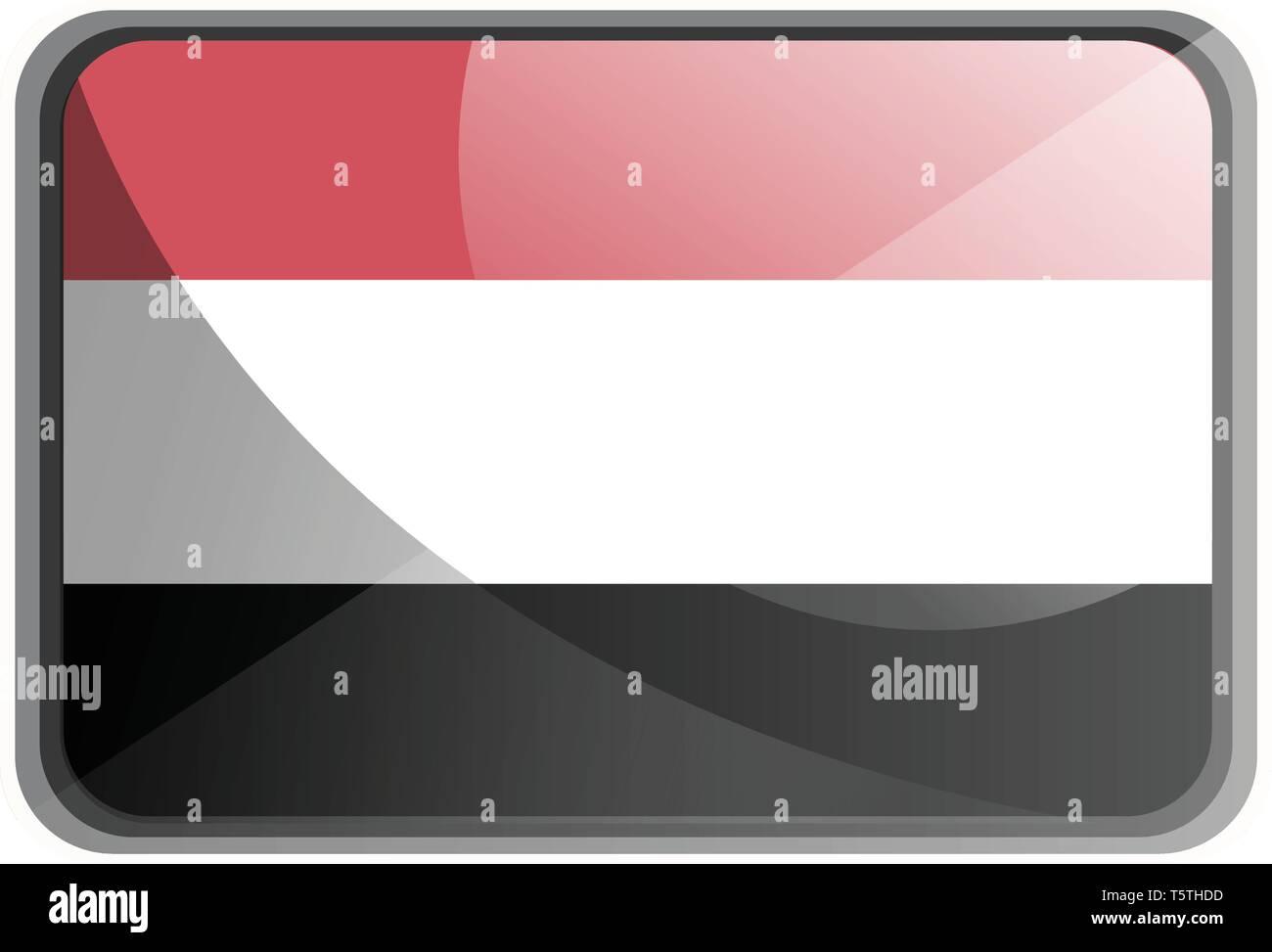 Vector illustration of Yemen flag on white background. - Stock Vector