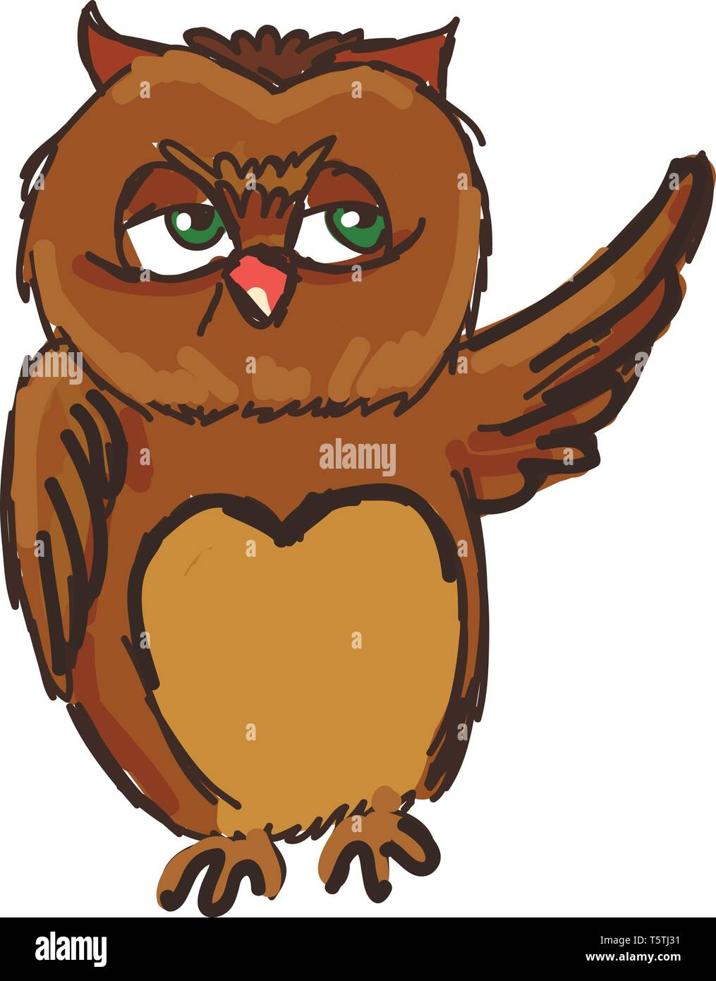 - A Drawing Of A Green Eyed Owl Waving Vector Color Drawing Or