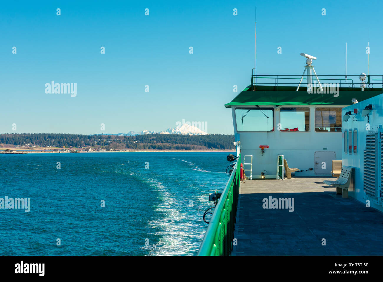 Mount Baker Seen From Washington State Ferry - Stock Image