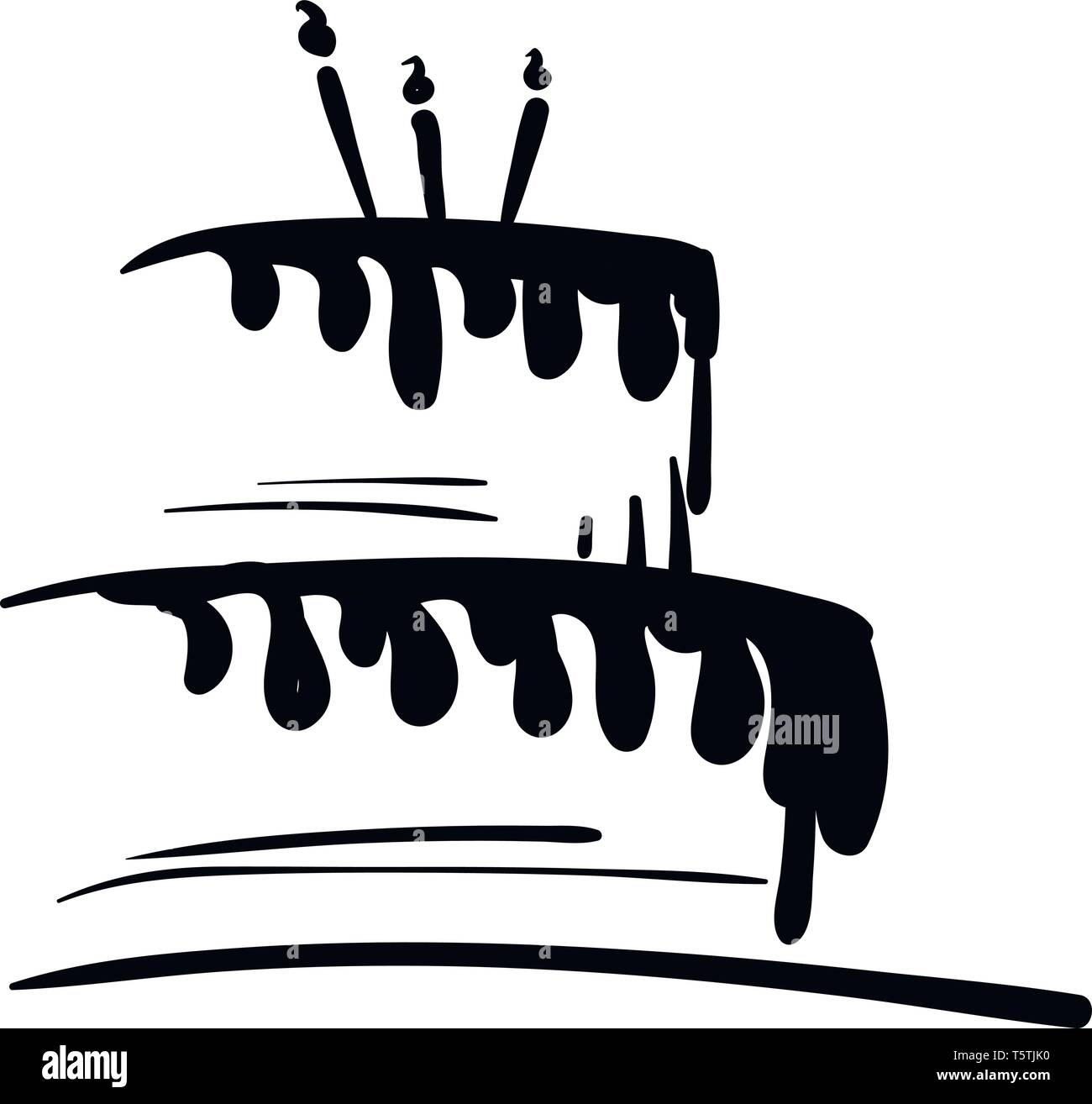 Swell Black And White Birthday Cake Vector Or Color Illustration Stock Funny Birthday Cards Online Elaedamsfinfo