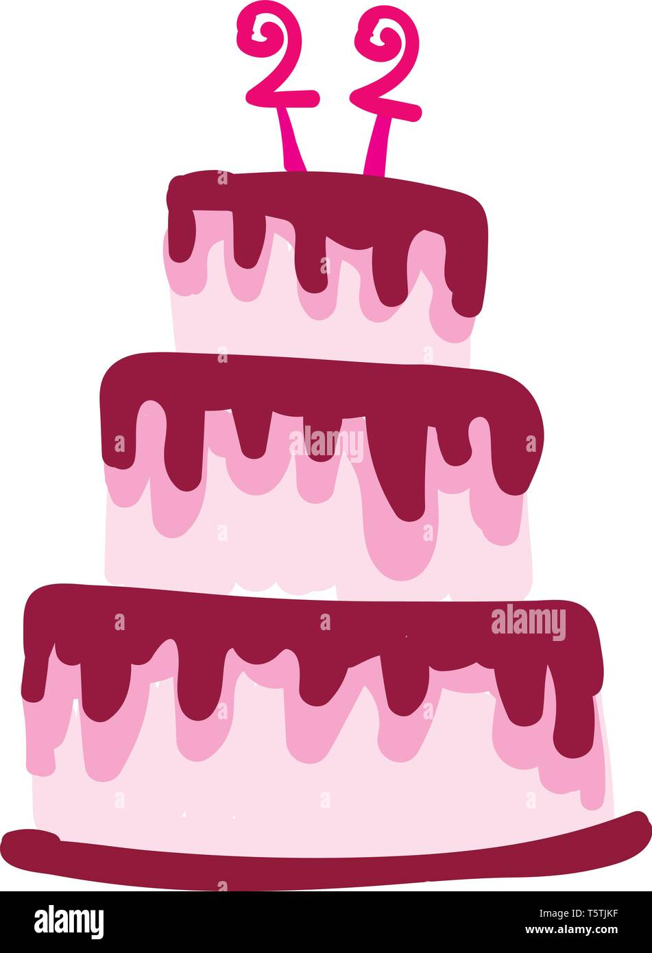 Groovy 22Nd Birthday Cake For The Lady Vector Or Color Illustration Stock Personalised Birthday Cards Sponlily Jamesorg