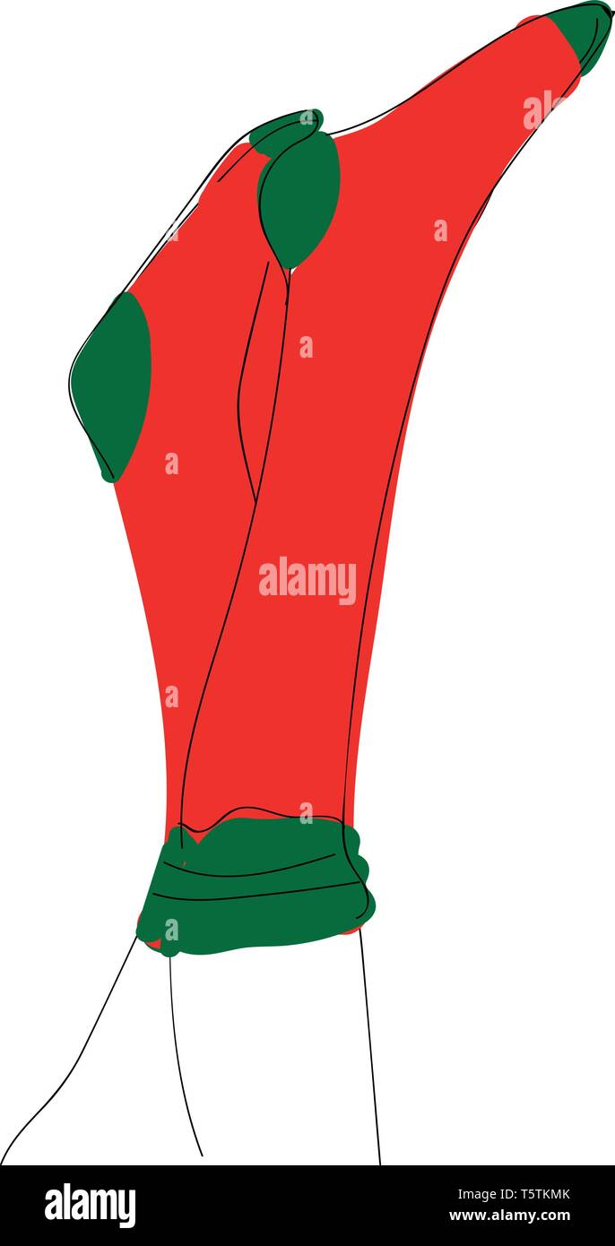 Human feet in an upright position in red and rose-colored socks vector color drawing or illustration - Stock Vector