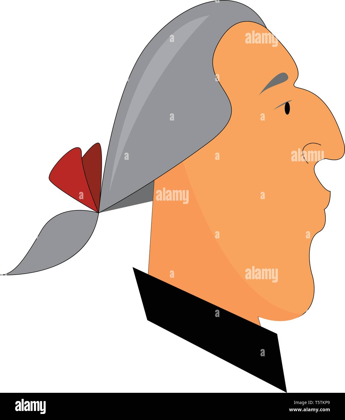 A man in a grey-colored wig has tied up his hair with a red-colored ribbon He is dressed in a black-colored shirt and has a large curved nose vector c - Stock Vector