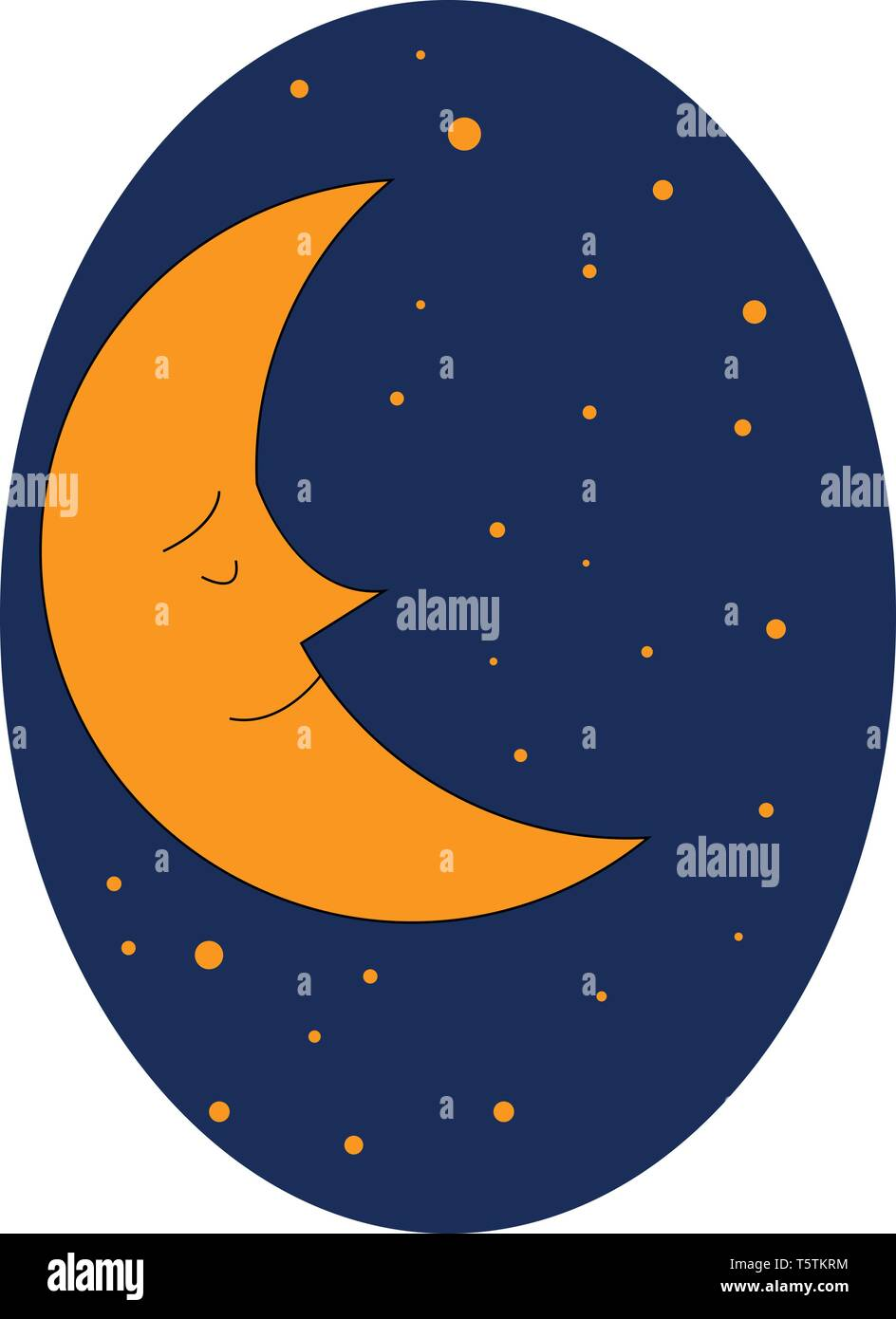 Brown-colored cartoon moon with sharp nose dreams while sleeping and appears against a dark-blue background with brown dots vector color drawing or il - Stock Vector