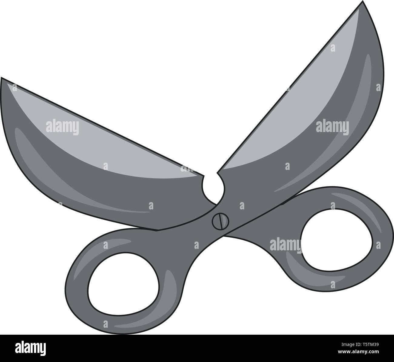 Big open scissors grey in color and possess a white button at the intersecting point of the two flat and sharp blades vector color drawing or illustra - Stock Image