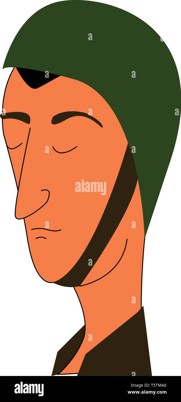 Simple cartoon portraite of a soldier in a green helmet vector illustration on white background - Stock Vector