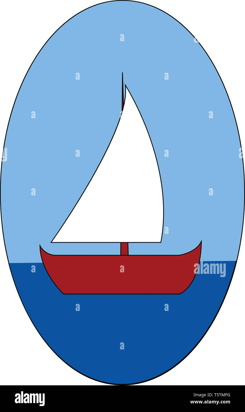 Red boat on the sea vector illustration on white background - Stock Vector