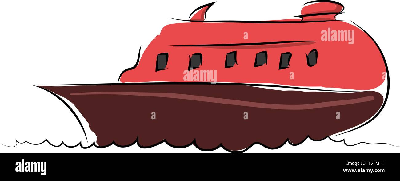 Cartoon red boat vector illustration on white background - Stock Vector