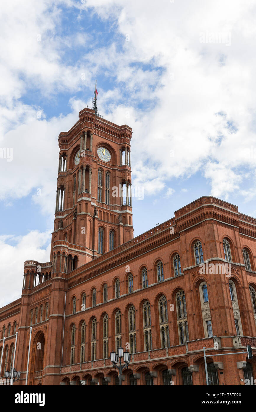 View of the Berlin's town hall, Rotes Rathaus (Red City Hall), and its clock tower in Germany. - Stock Image