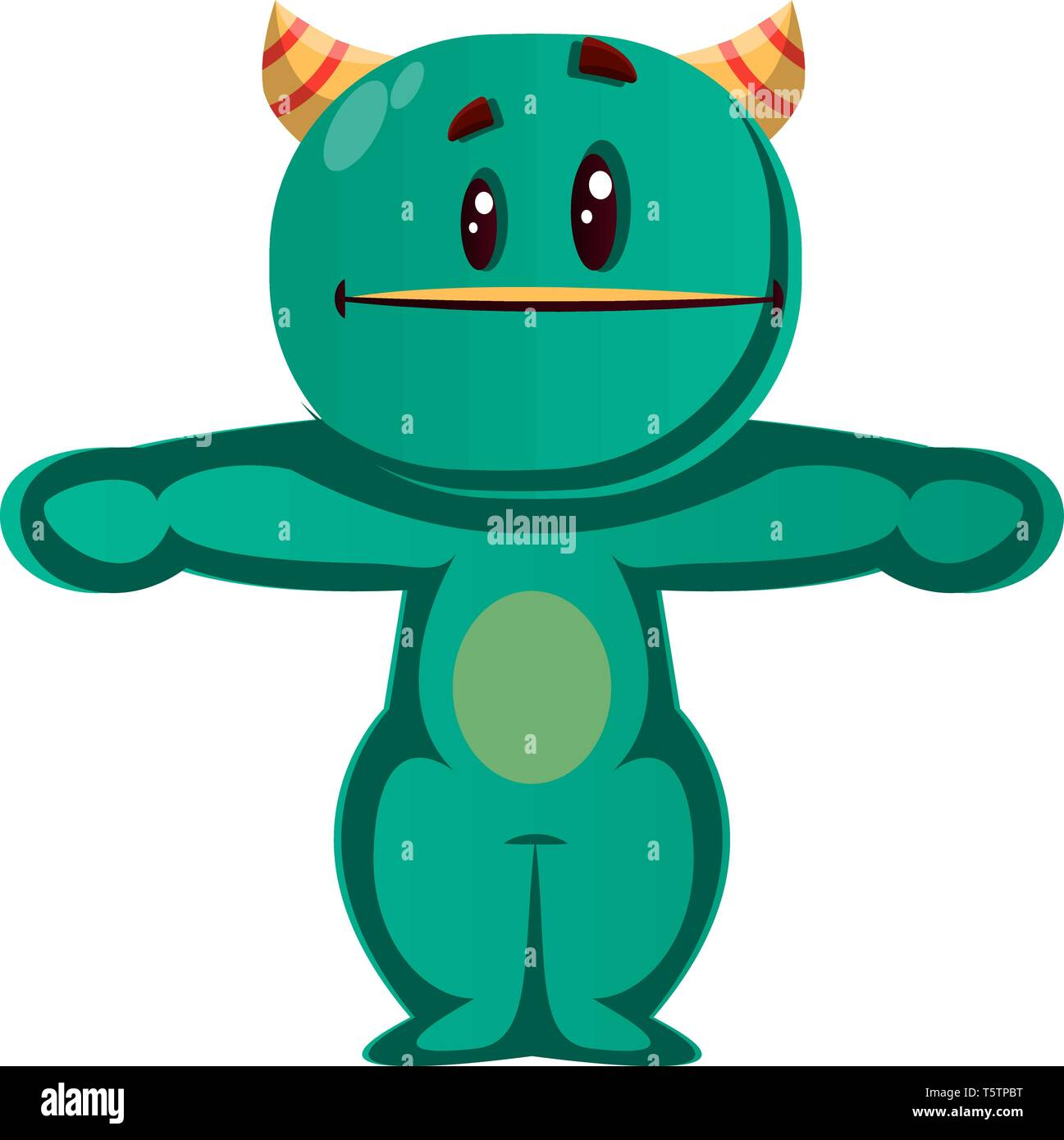 Green monster working out vector illustration - Stock Vector